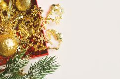 Christmas decoration. Free space for text. Christmas background stock images