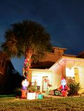 Christmas decoration in front of a house stock photography
