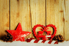 Christmas decoration in front of wood background Royalty Free Stock Photography