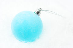 Christmas decoration - frosty blue bauble Stock Photos