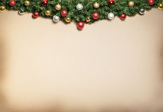 Christmas decoration with fur and baubles. Royalty Free Stock Image