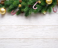 Christmas decoration with fur and baubles Stock Photography
