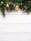 Christmas decoration with fur and baubles Royalty Free Stock Images