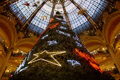 Christmas decoration in Galeries Lafayette Stock Image