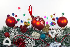 Christmas Decoration, garland fir tree,  baubles, snowflake Royalty Free Stock Image