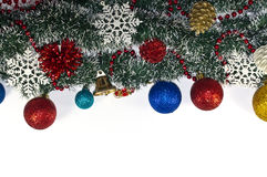 Christmas Decoration, garland fir tree,  baubles, snowflake Stock Photography