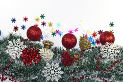 Christmas Decoration, garland fir tree,  baubles, snowflake Stock Images