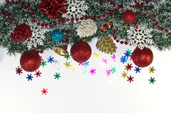 Christmas Decoration, garland fir tree,  baubles, snowflake Royalty Free Stock Photos