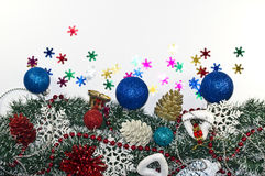 Christmas Decoration, garland fir tree,  baubles, snowflake Royalty Free Stock Images