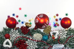 Christmas Decoration, garland fir tree,  baubles, snowflake Stock Image