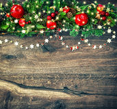 Christmas decoration garland with golden lights vintage Stock Photo