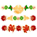 Christmas decoration garlands with bells and leaf clovers set of four vector Royalty Free Stock Images