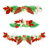 Christmas decoration garlands with pine cones set of three vector Stock Photography