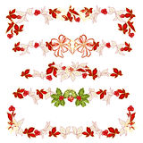 Christmas decoration garlands with poinsettia set two vector Stock Photography