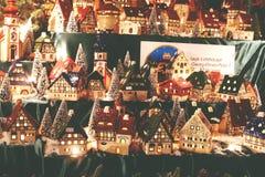 Christmas decoration. German porcelain lighted village houses for Christmas. stock photo