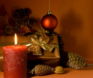 Christmas decoration with Gift,balls and lighted c Royalty Free Stock Photography