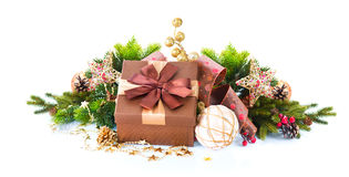Christmas Decoration and Gift Box Stock Photography