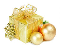 Christmas decoration. Gift box with Christmas balls and snowflake on white background Royalty Free Stock Photos