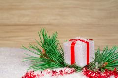 Christmas decoration with gift box and blurred background royalty free stock images