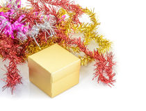 Christmas decoration with gift box and fir branch Stock Photo