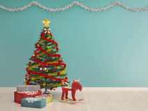 Christmas decoration with gift box-X'mas background. Christmas tree with gifts and toy-X'mas background Royalty Free Stock Photography