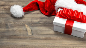 Christmas decoration. Gift box with red ribbon bow Royalty Free Stock Image
