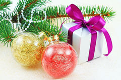 Christmas decoration with gift box and spruce Stock Photography