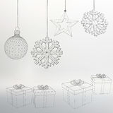 Christmas decoration and gift box Vector illustration. Polygon triangle. The structural grid of polygons. Abstract Creative concep Royalty Free Stock Photos