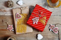 Christmas decoration and gift box on wooden background Royalty Free Stock Photos