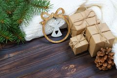 Free Christmas Decoration, Gift Boxes And Angel Figure Frame Background, Top View With Copy Space On White Wood Table Surface. Christma Royalty Free Stock Photos - 104783388