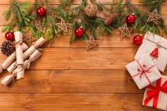 Free Christmas Decoration, Gift Boxes And Garland Frame Background Stock Photo - 101939260