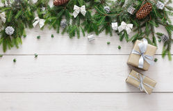 Free Christmas Decoration, Gift Boxes And Garland Frame Background Stock Image - 79362771