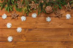 Christmas decoration, gift boxes and garland frame background Stock Photo
