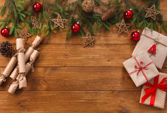 Christmas decoration, gift boxes and garland frame background Royalty Free Stock Images