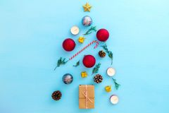 Christmas decoration with gift boxes and ornament on blue background. stock image