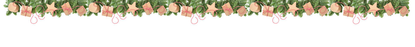 Christmas decoration gift boxes Pine tree branches border banner