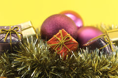 Christmas decoration with gift and garlands Stock Photography