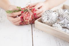 Christmas decoration and Christmas gift. New year Royalty Free Stock Image