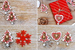 Christmas decoration and gift on wooden background Royalty Free Stock Photos