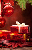 Christmas decoration - gifts and balls Royalty Free Stock Photo