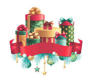 Christmas decoration, gifts stack and ribbon tag Stock Images