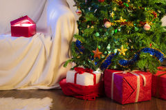 Christmas decoration with gifts and tree royalty free stock images