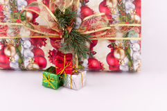 Christmas decoration. Of gifts on a white background royalty free stock image