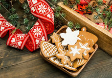 Christmas decoration and gingerbread cookies. retro style Stock Photos