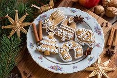Christmas gingerbread cookies on a wooden table stock image