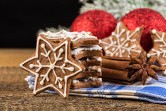 Christmas decoration with gingerbread cookies Stock Images