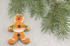 Christmas decoration with gingerbread and fir tree Royalty Free Stock Image