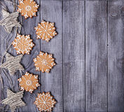 Christmas  decoration and gingerbread snowflakes Royalty Free Stock Photo