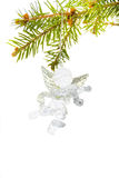 Christmas decoration. Glass angel. On white background stock image