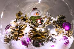 Christmas decoration in glass bowl Stock Images